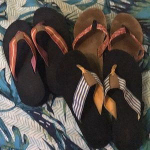 Three pairs J Crew flip flops size 9 used